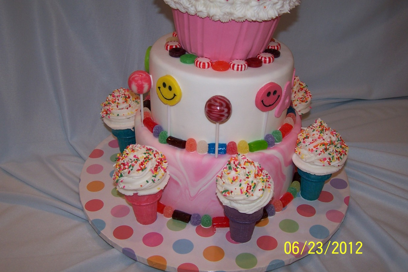 Candyland Ice Cream Cone Birthday Cake