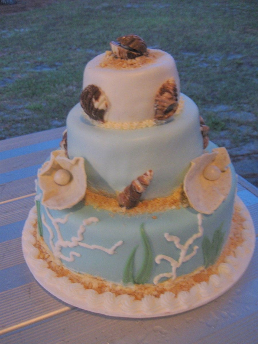 Ocean/beach 3 Tier on Cake Central
