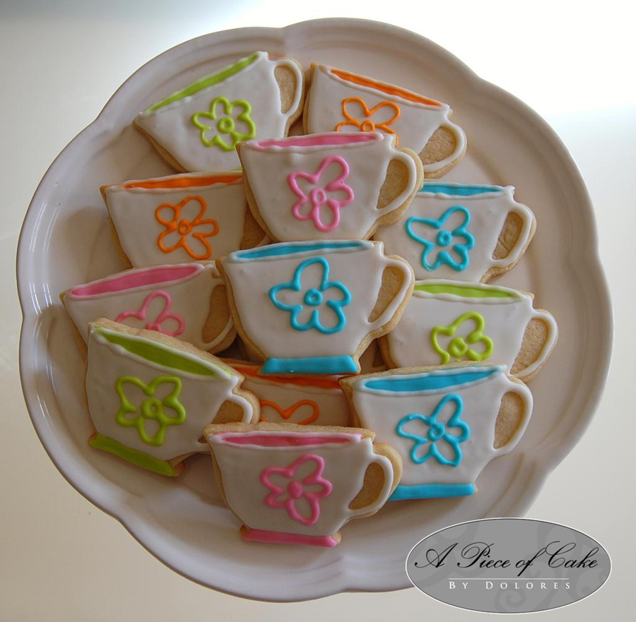 Tea Cup Cookies Made To Match The Tea Cups Being Used At The Party on Cake Central