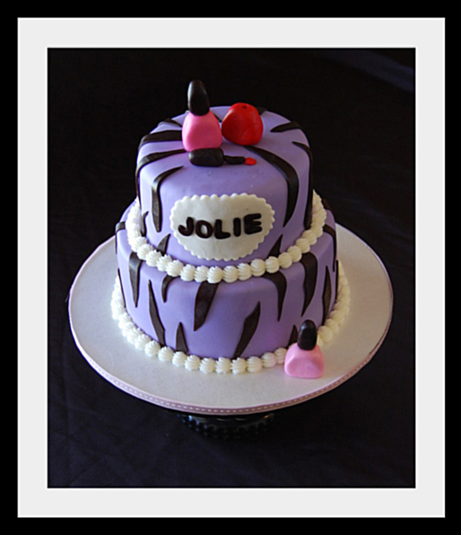 Purple Zebra Striped Cake With Fondant Nail Polish Bottles on Cake Central