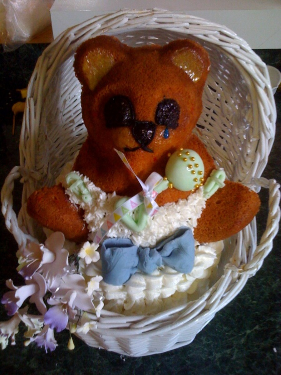 Teddy Bear In Basket on Cake Central