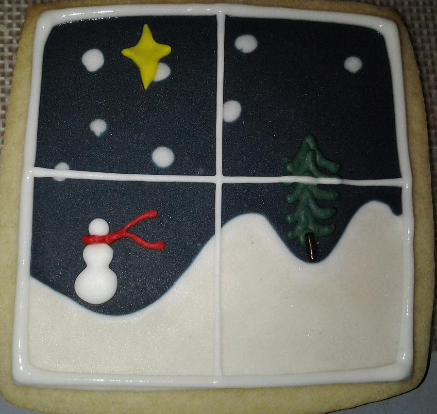 Winter Night Scene on Cake Central