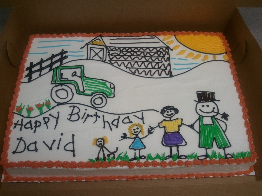 Child's Drawing on Cake Central