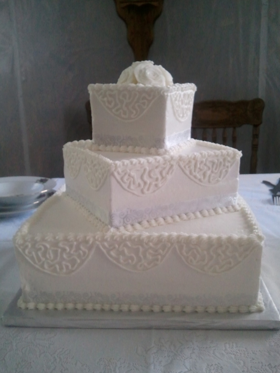 Simple White Square on Cake Central