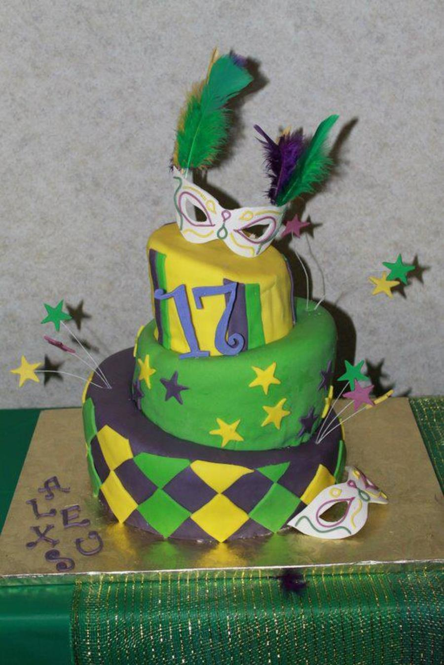 Topsy Turvy Mardi Gras Cake  on Cake Central