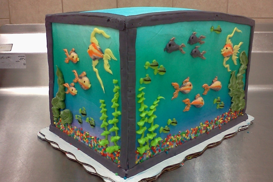 Piped Buttercream Fish Tank Cakecentral Com