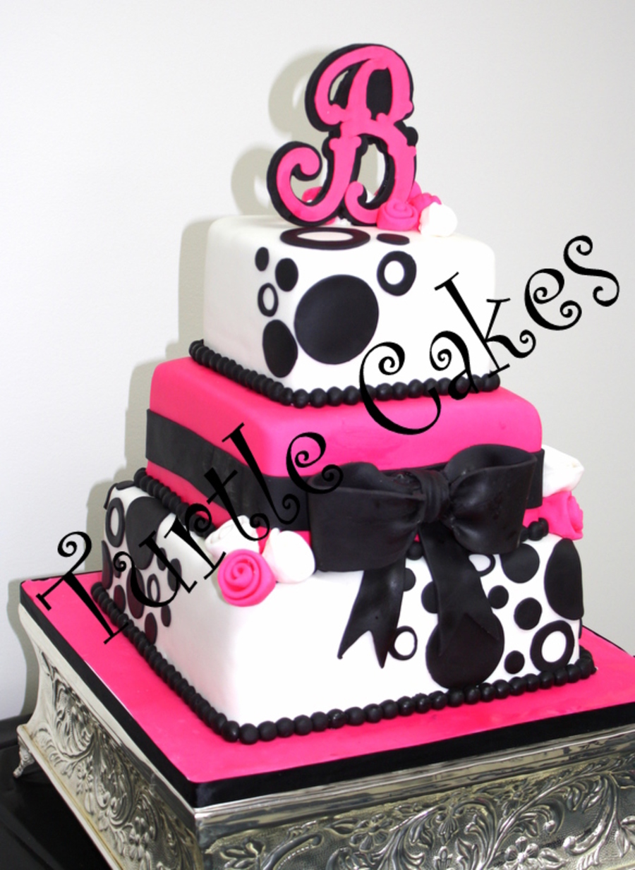 Pink And Black Dot Wedding on Cake Central