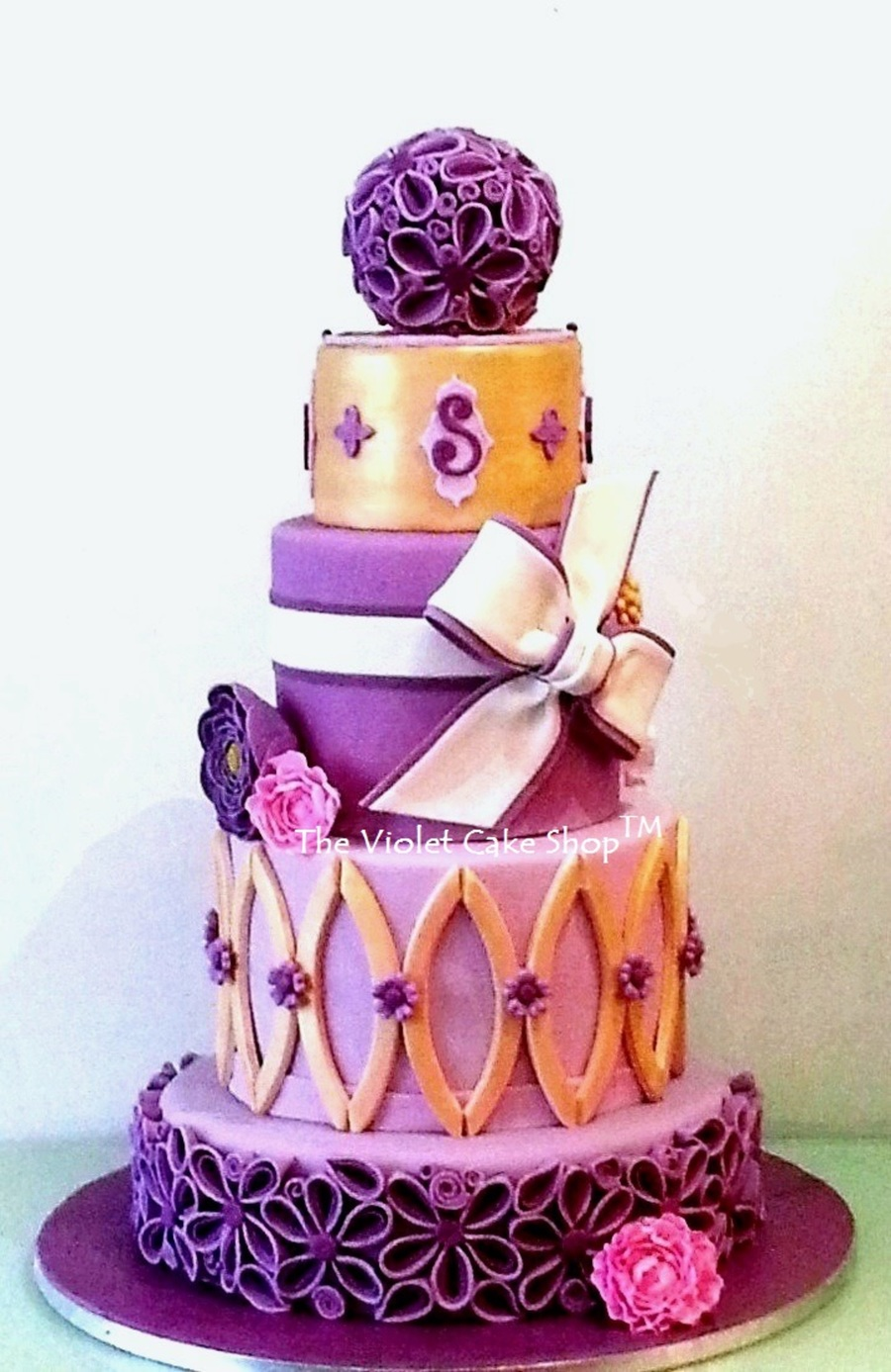 My First 4 Tier Wedding Cake - Gold & Purple - CakeCentral.com