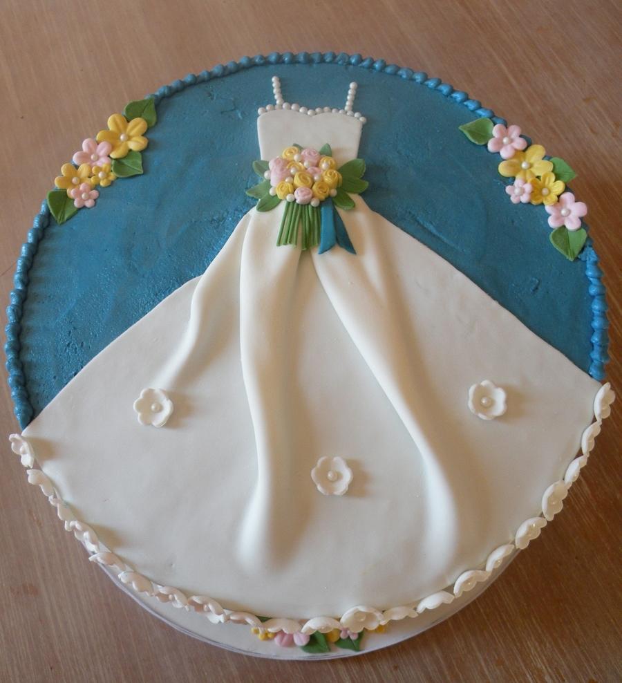 """Ble Bridal Shower """"dress"""" Cake"""