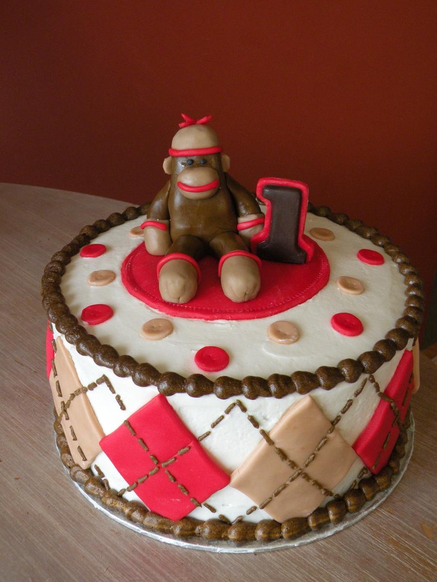 Pleasing Sock Monkey 1St Birthday Cake Cakecentral Com Birthday Cards Printable Giouspongecafe Filternl