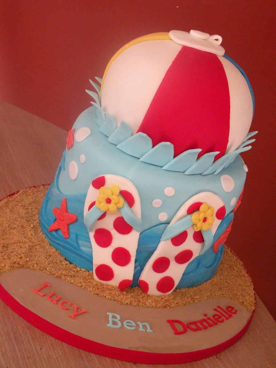 Swell Beach Ball And Flip Flops Cakecentral Com Birthday Cards Printable Benkemecafe Filternl