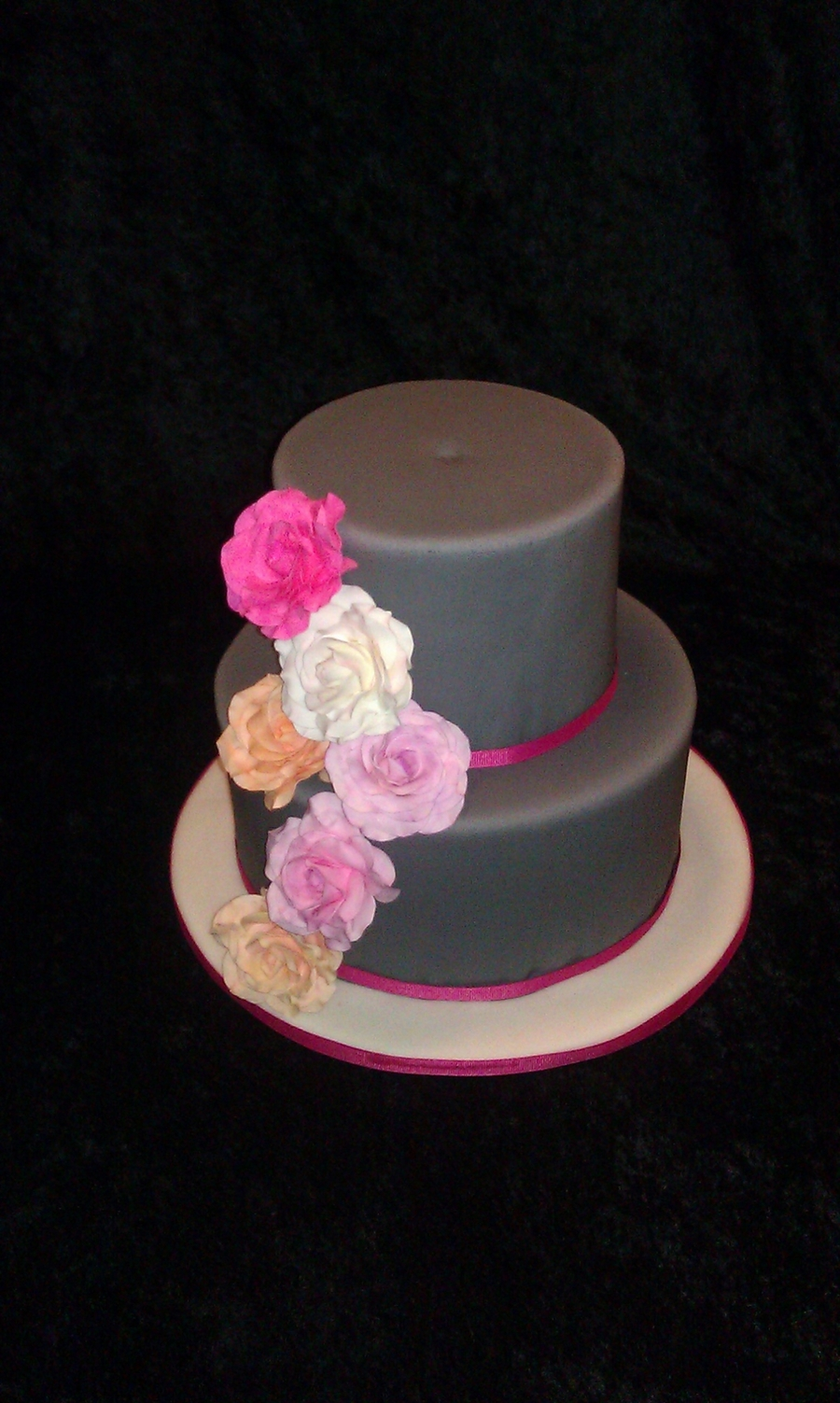 Gray Cake With Roses on Cake Central