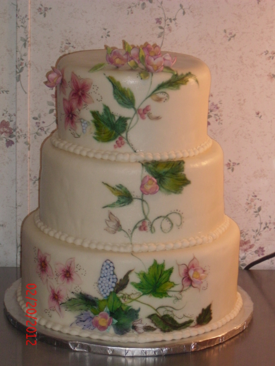 Handpainted And 3D Floral on Cake Central