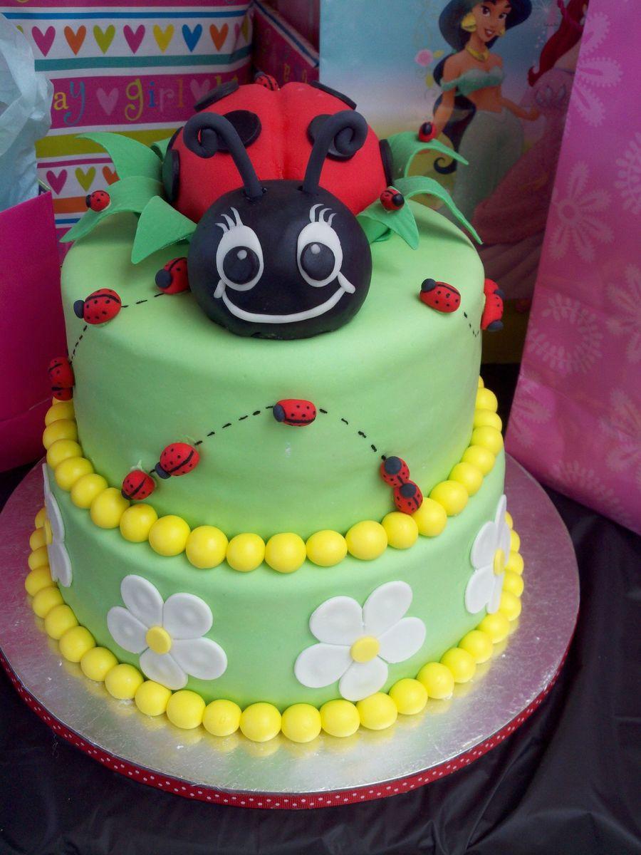 Ladybug Birthday Cake Fondant Flowers And Ladybugs The Large Ladybug