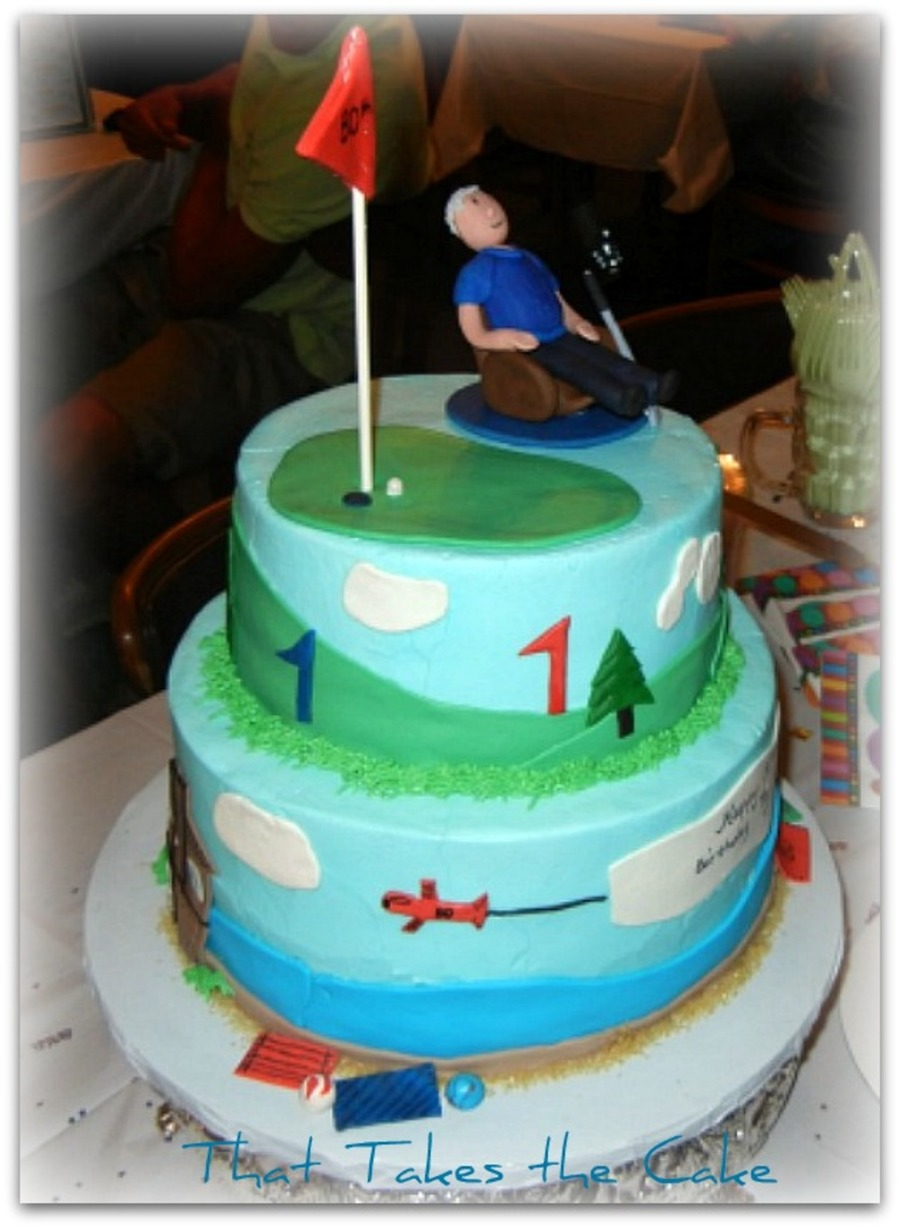 This Was A Birthday Cake For An 80 Year Old Gentlemen Who Is Avid Golfer Loves To Watch Sports In His Lounge Chair And Enjoys Beach House Kitty