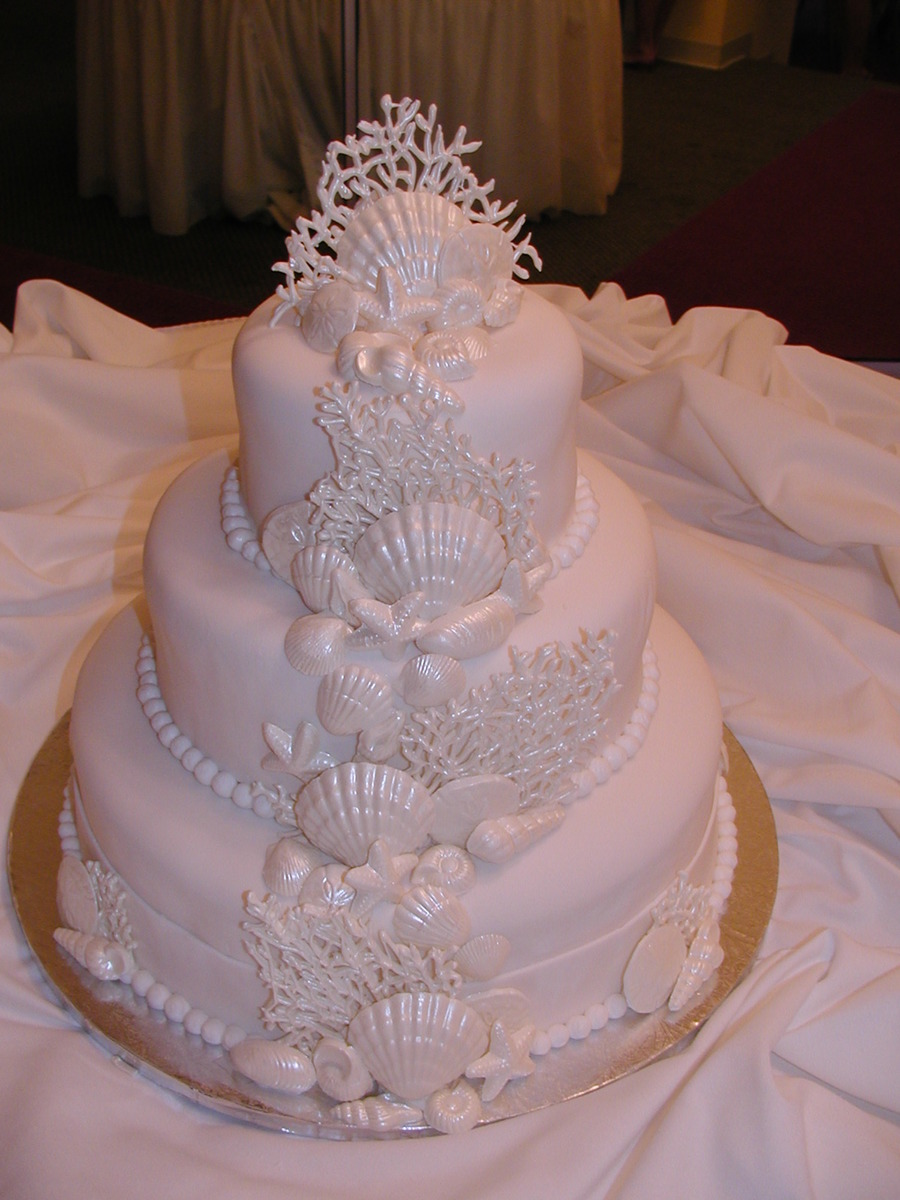 White Sea Shell Wedding Cake on Cake Central