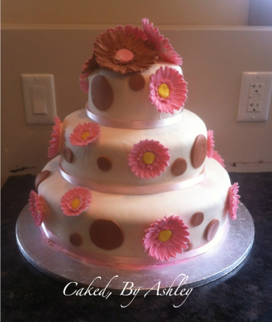 Gerbera Daisey Wedding Cake  on Cake Central