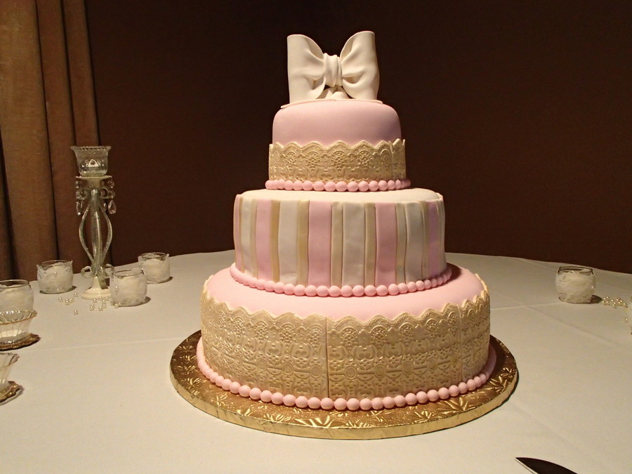 gold and pink wedding cakes pink and gold wedding cake cakecentral 14740