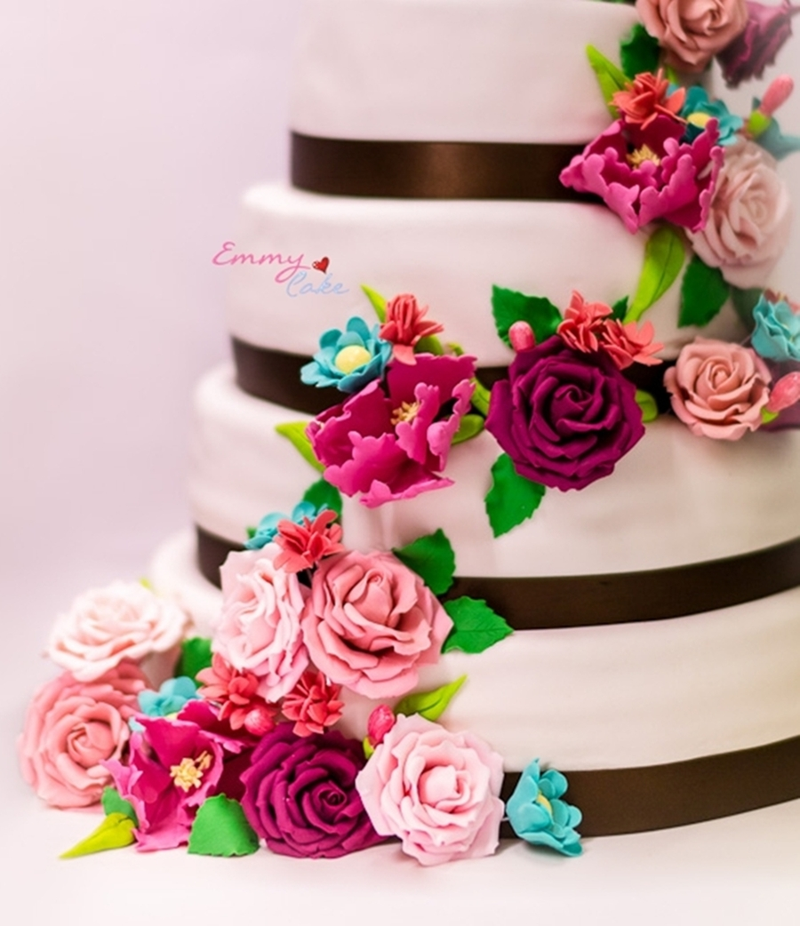 Flowerr Wedding Cake on Cake Central