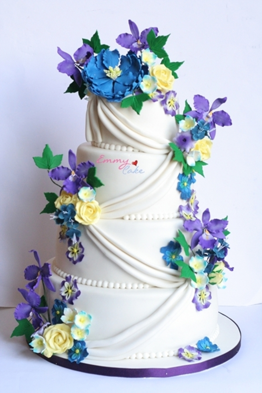 blue purple wedding cake blue yellow purple and white wedding cake cakecentral 12003