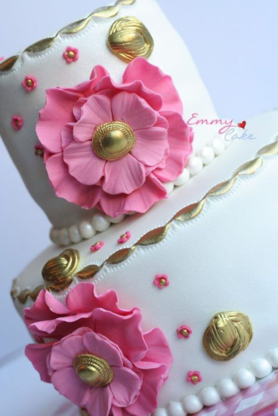 Pink, White And Gold on Cake Central