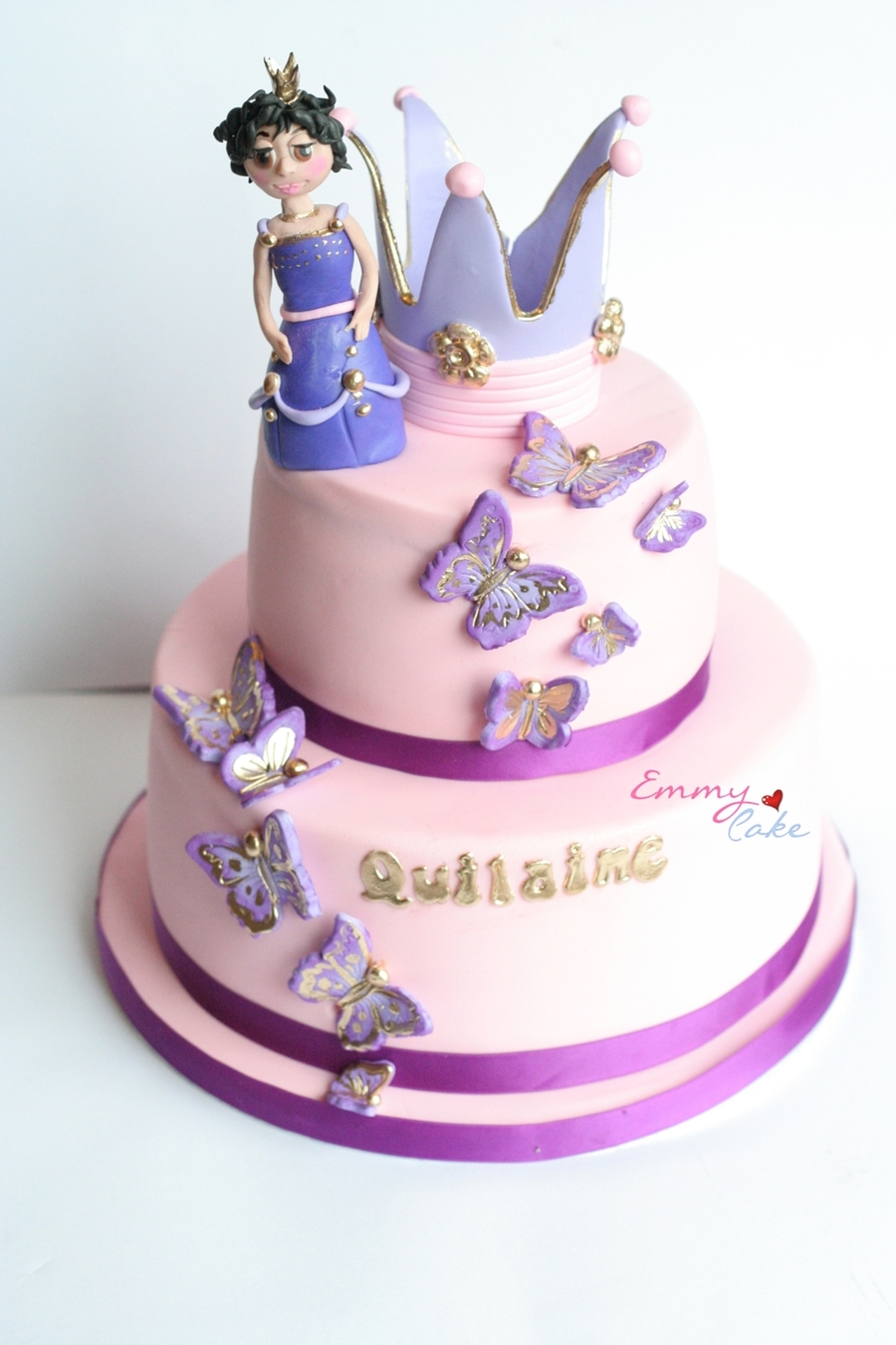 Birthday Cake With A Princess And She Also Likes Butterflies So I Put Butterflies To Get A Girly Effect on Cake Central