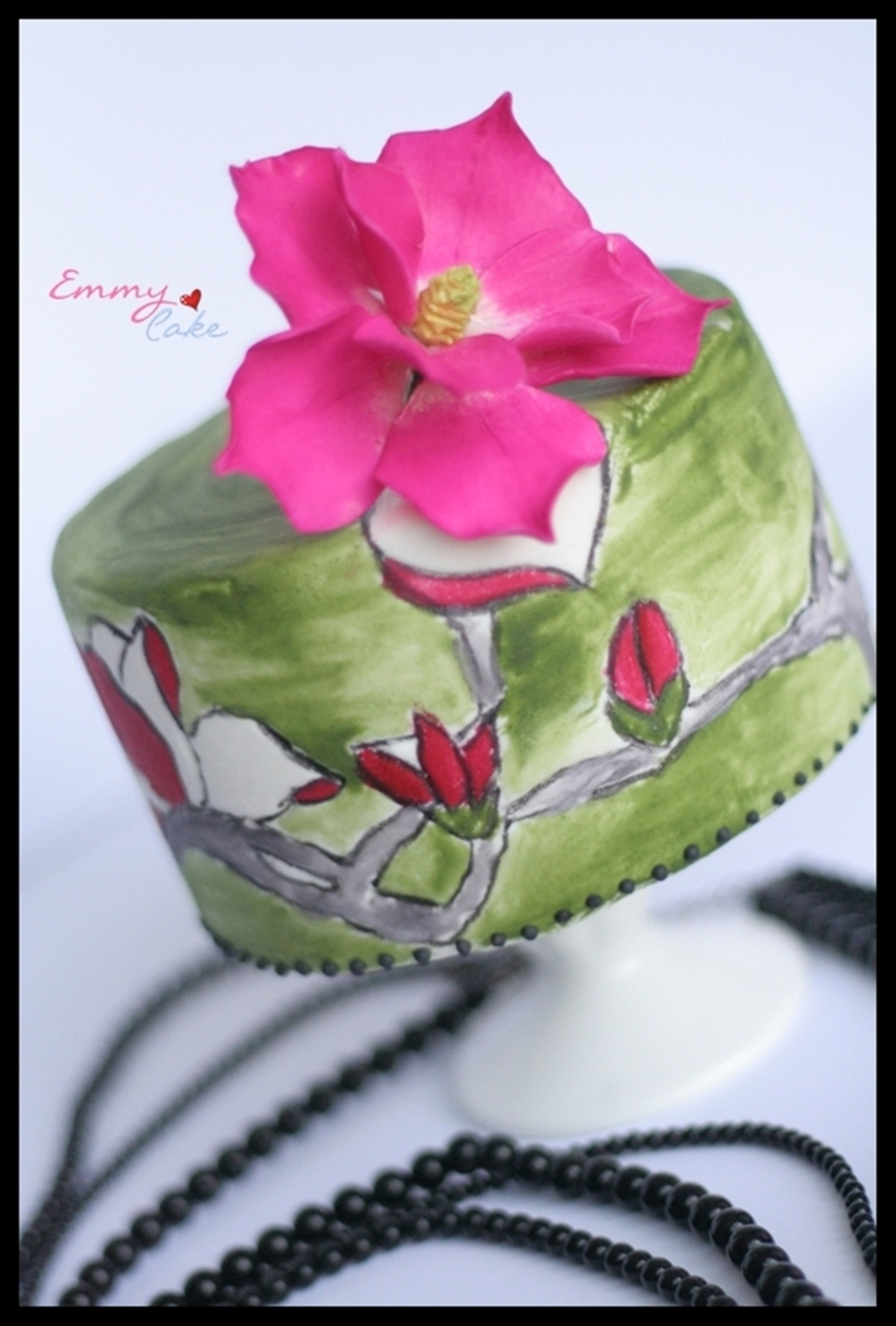 Painted Cake With Icing And A Sugarflower on Cake Central