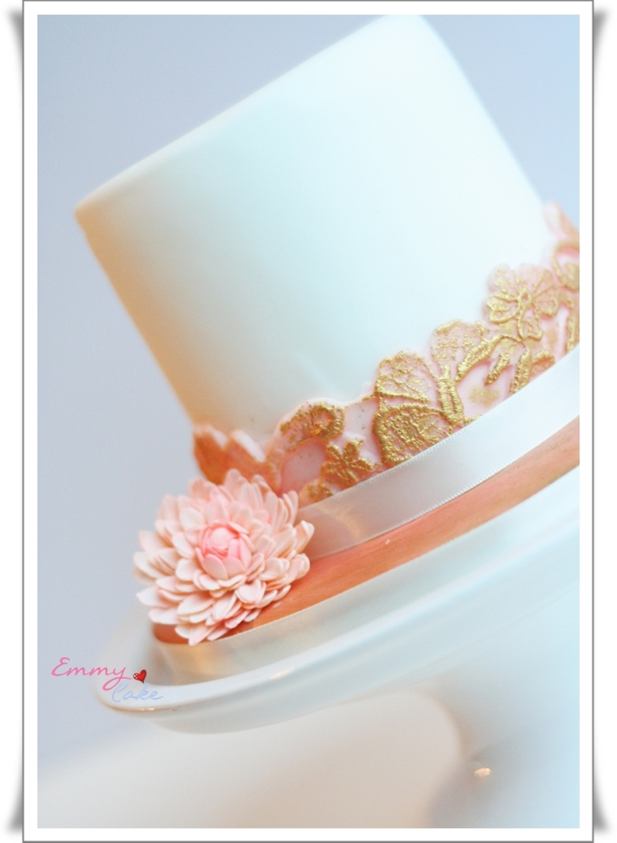 Peach Lace And A Small Flower on Cake Central