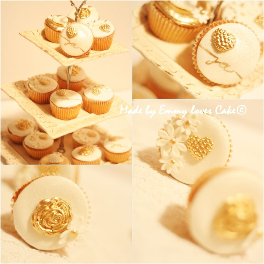 Gold And White Wedding Cupcakes on Cake Central