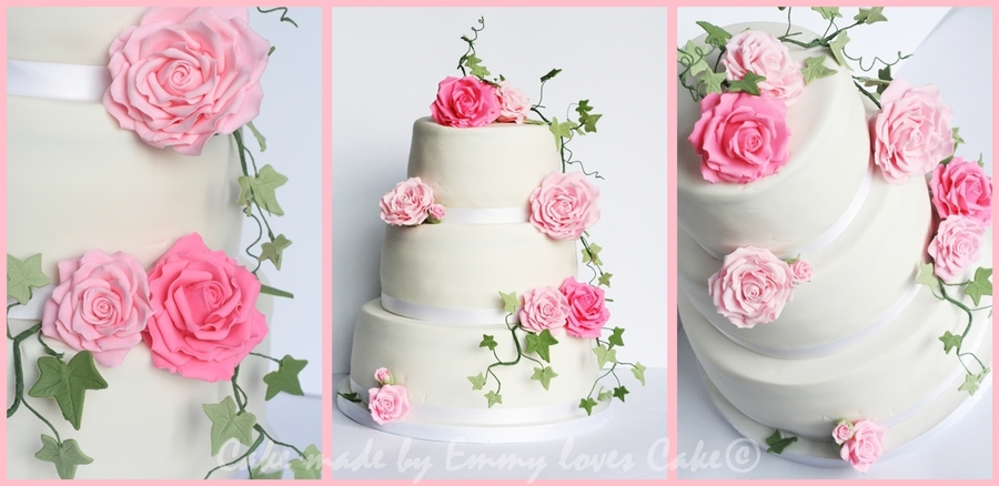Big Pink Roses And Green on Cake Central