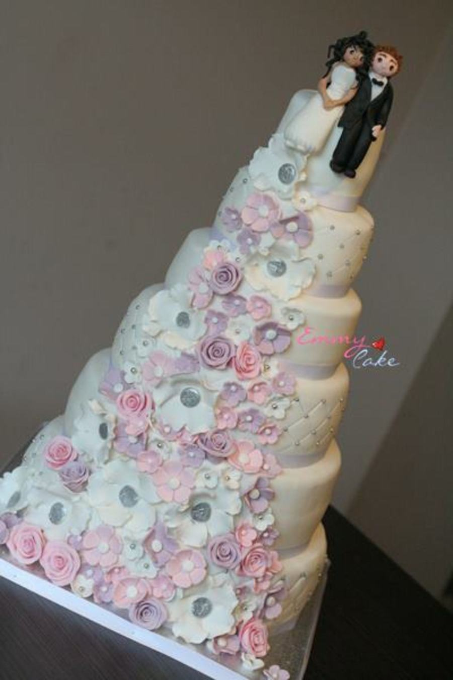 Pink White And Purple Wedding Cake on Cake Central