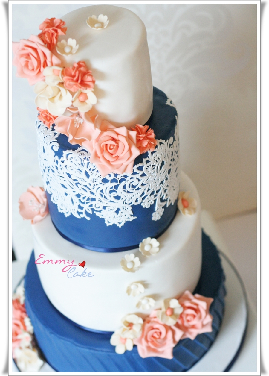 Romantic Navy , Coral And Ivory Cake on Cake Central
