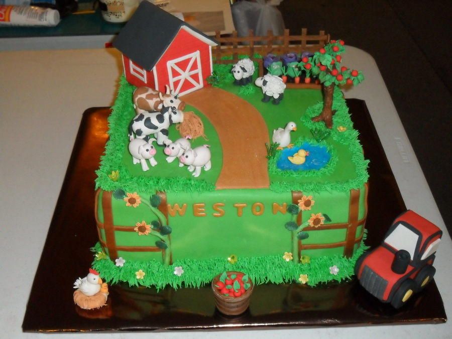 Cake Decoration Farm Theme : This Is A Farm Themed Baby Shower Cake Barn And Tree Are ...