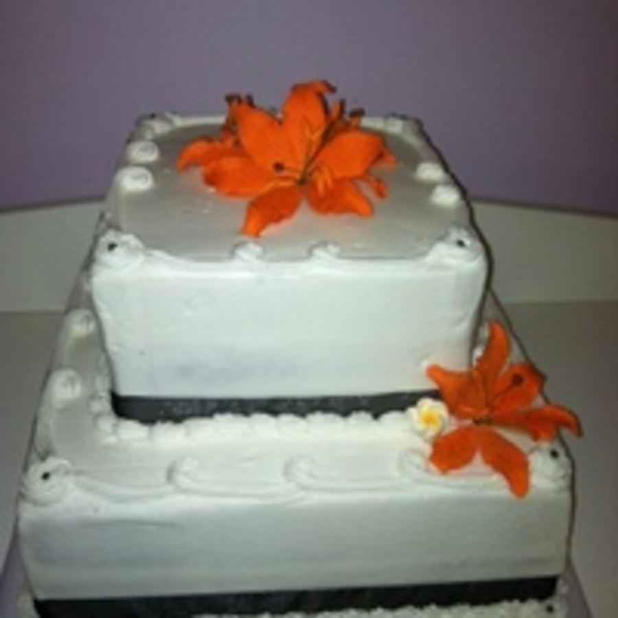 Orange Tiger Lily Square Wedding Cake Brides Colors With Orange And Black on Cake Central