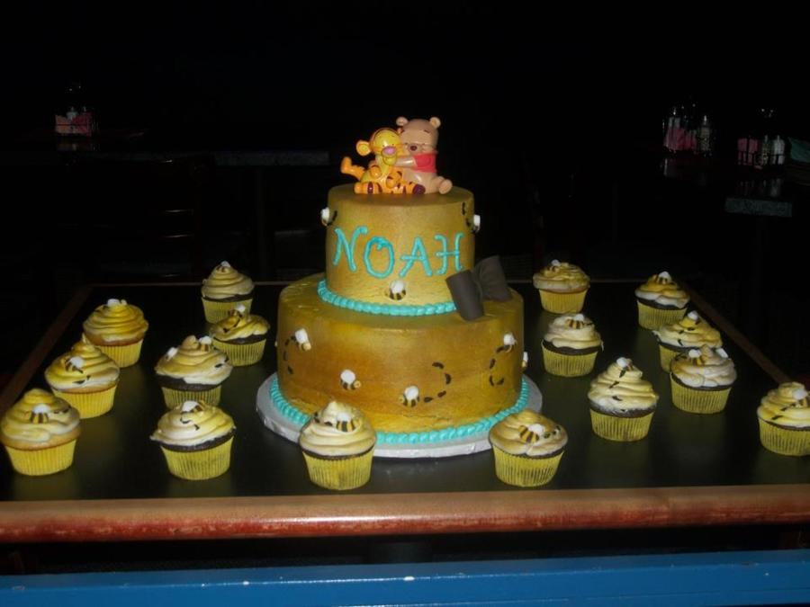 Baby Pooh Themed Baby Shower For A Boy All Buttercream With Sugar Bees Gumpaste Bow  on Cake Central