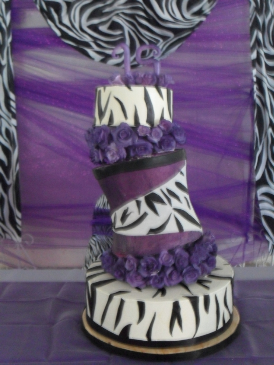Purple Zebra Cake on Cake Central
