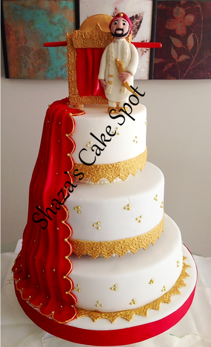 Decorating Ideas > Red & Gold Wedding Cake  Indian Theme  CakeCentralcom ~ 221321_Cake Decorating Ideas India