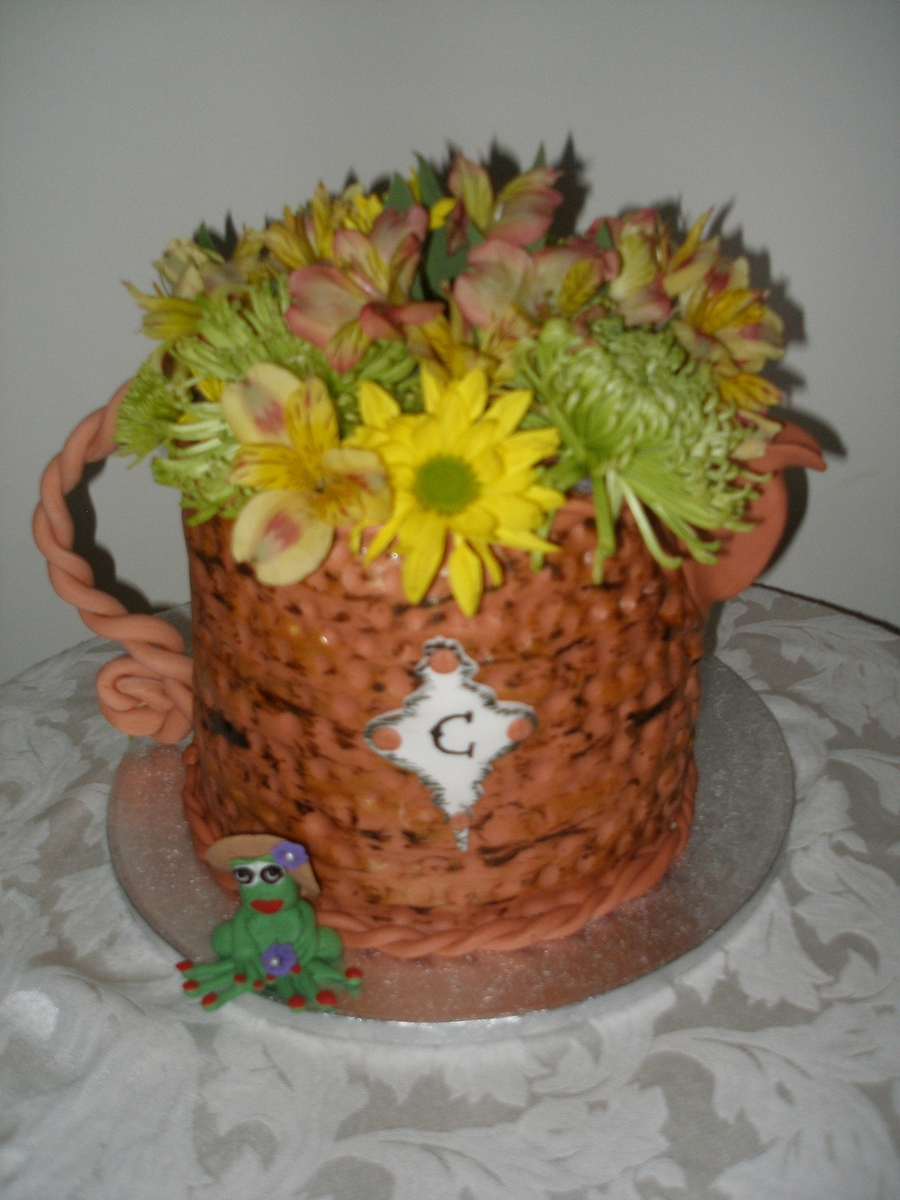 Watering Can Flower Garden on Cake Central