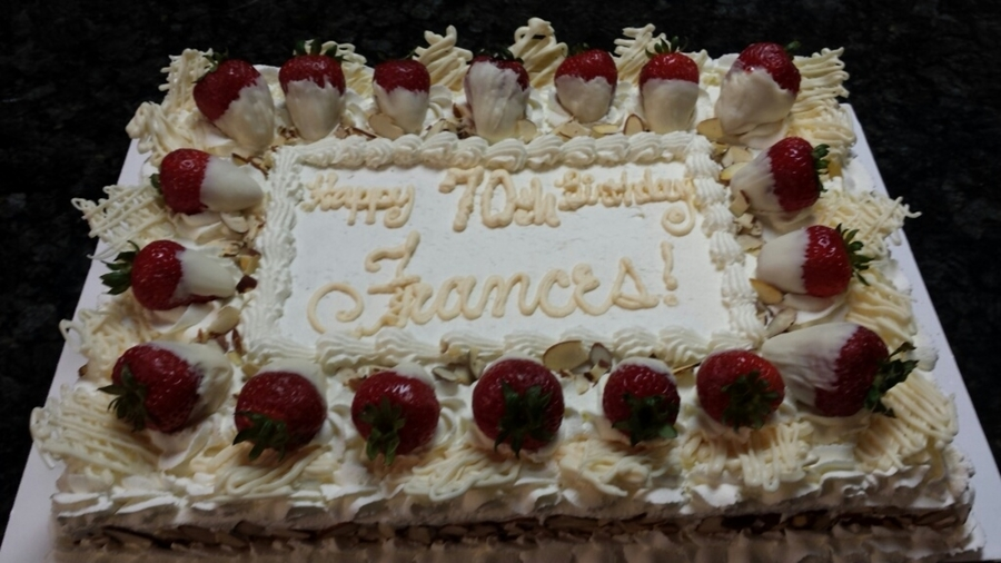 Cake With Whipped Cream Frosting And Strawberries : 70Th Birthday Almond Cake Almond Whipped Cream Frosting ...
