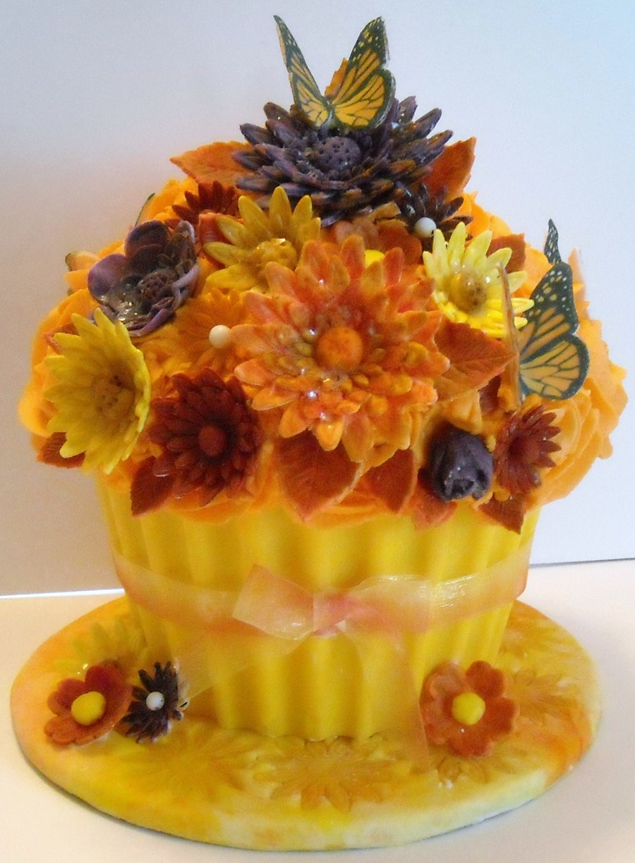 Autumn Big Cupcake on Cake Central