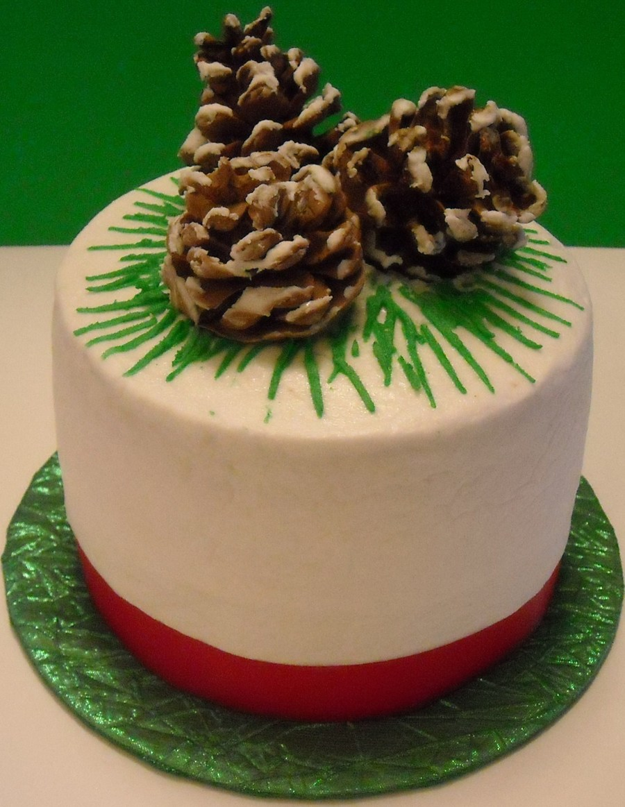 Chocolate 2 Layer Cake With Buttercream Icing And Gumpaste Pinecones on Cake Central