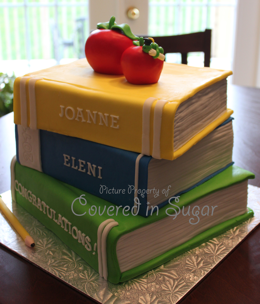 Stack Of Books Teacher Graduation Cake on Cake Central