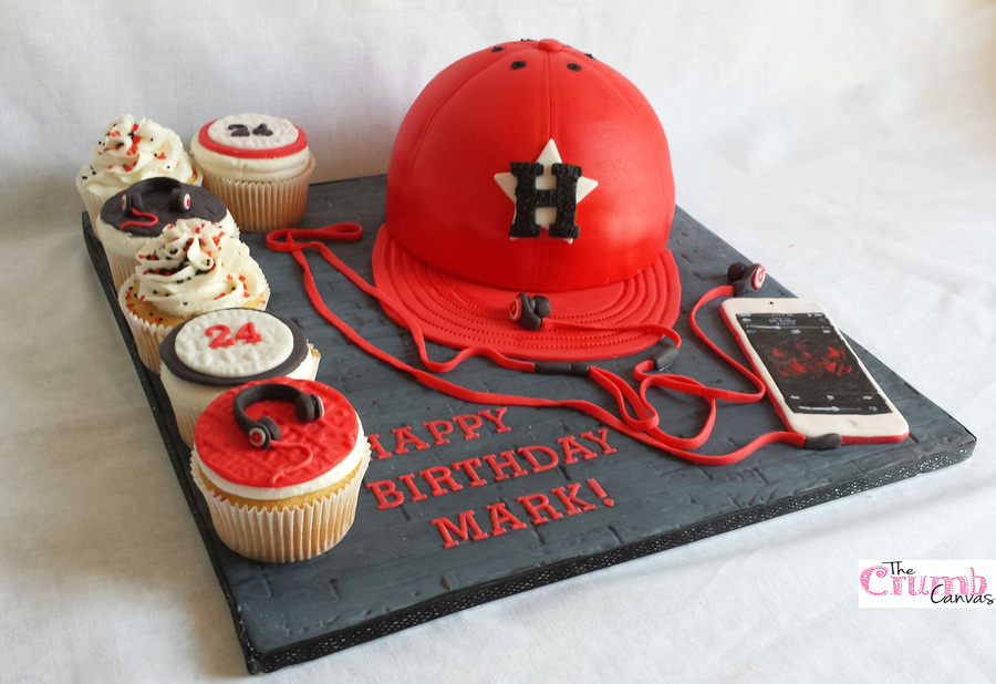 Houston Astros Cap Cake With Ipod 5th Generation And Beats In Ear HeadphonesThe Cupcakes Were Vanilla American Buttercream
