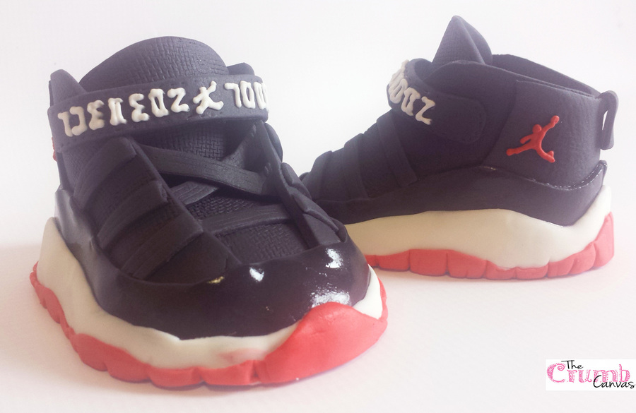 97248f8f0b3393 Made from all fondant i made up a template as i went along baby Jordan 11s  (well toddler actually) these were made to sit on top of a baby shower cake
