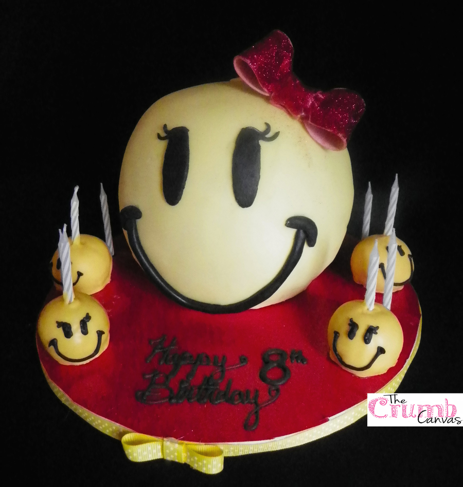 Girly Smiley Face Cake on Cake Central