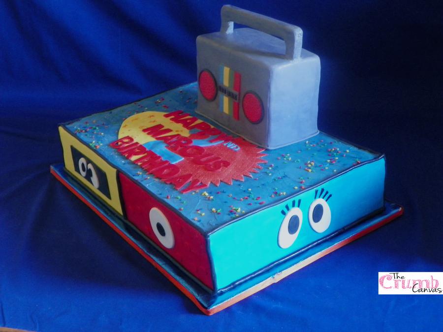 Yo gabba gabba half sheet cake the cake is vanilla with vanilla yo gabba gabba half sheet cake the cake is vanilla with vanilla filling and vanilla bean smbc the boombox is an 8 inch cake cut halfway an cakecentral thecheapjerseys Gallery