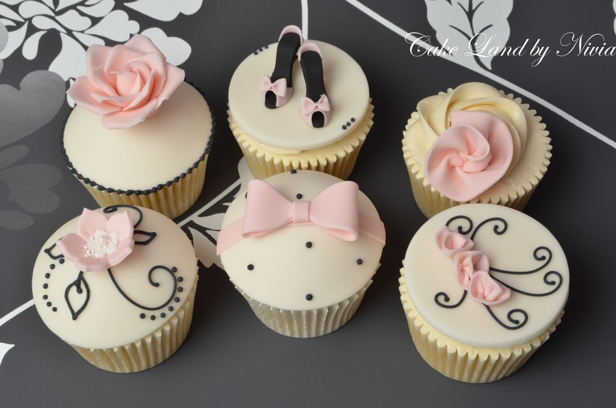 Black, Pink And Ivory Birthday Cupcakes on Cake Central