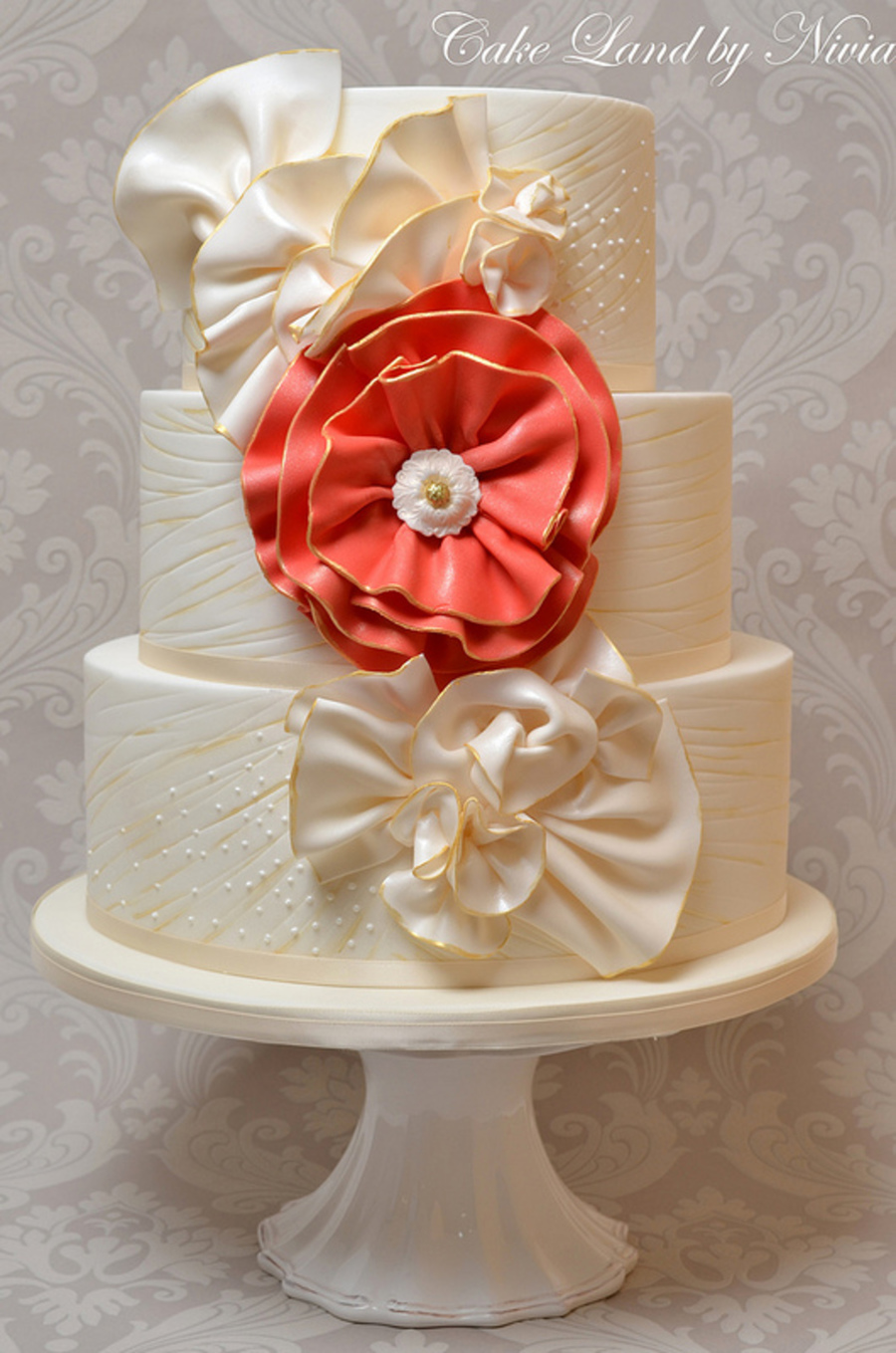 Fabric Wedding Cake on Cake Central