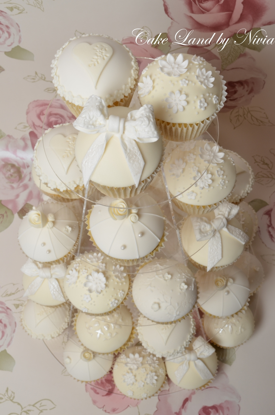 White And Ivory Wedding Cupcakes - CakeCentral.com