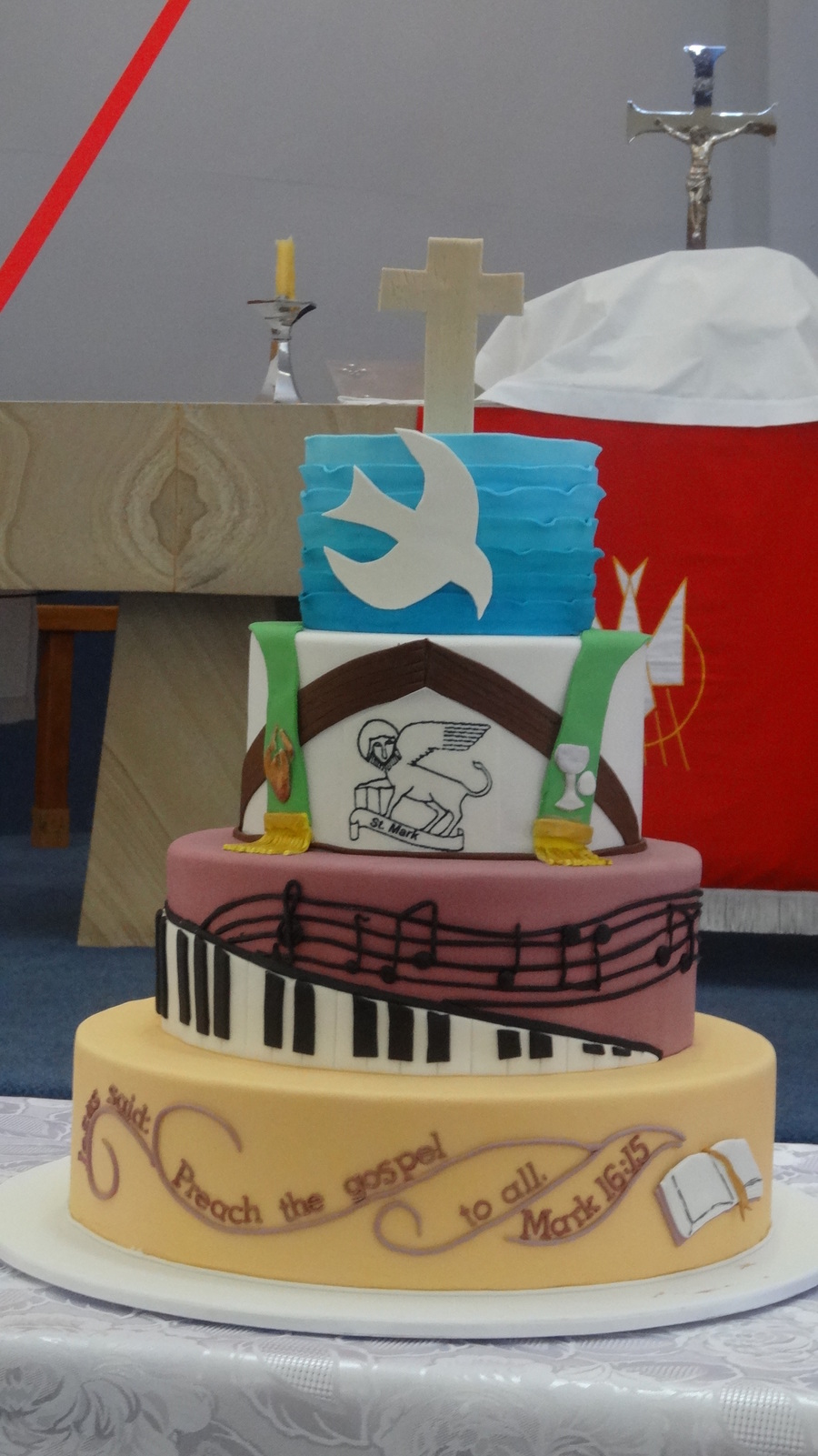 A Cake For Our Churchs 40Th Anniversary Each Tier Was Designed To Reflect An Aspect Of The Life Of The Church The Second Tier From The To on Cake Central